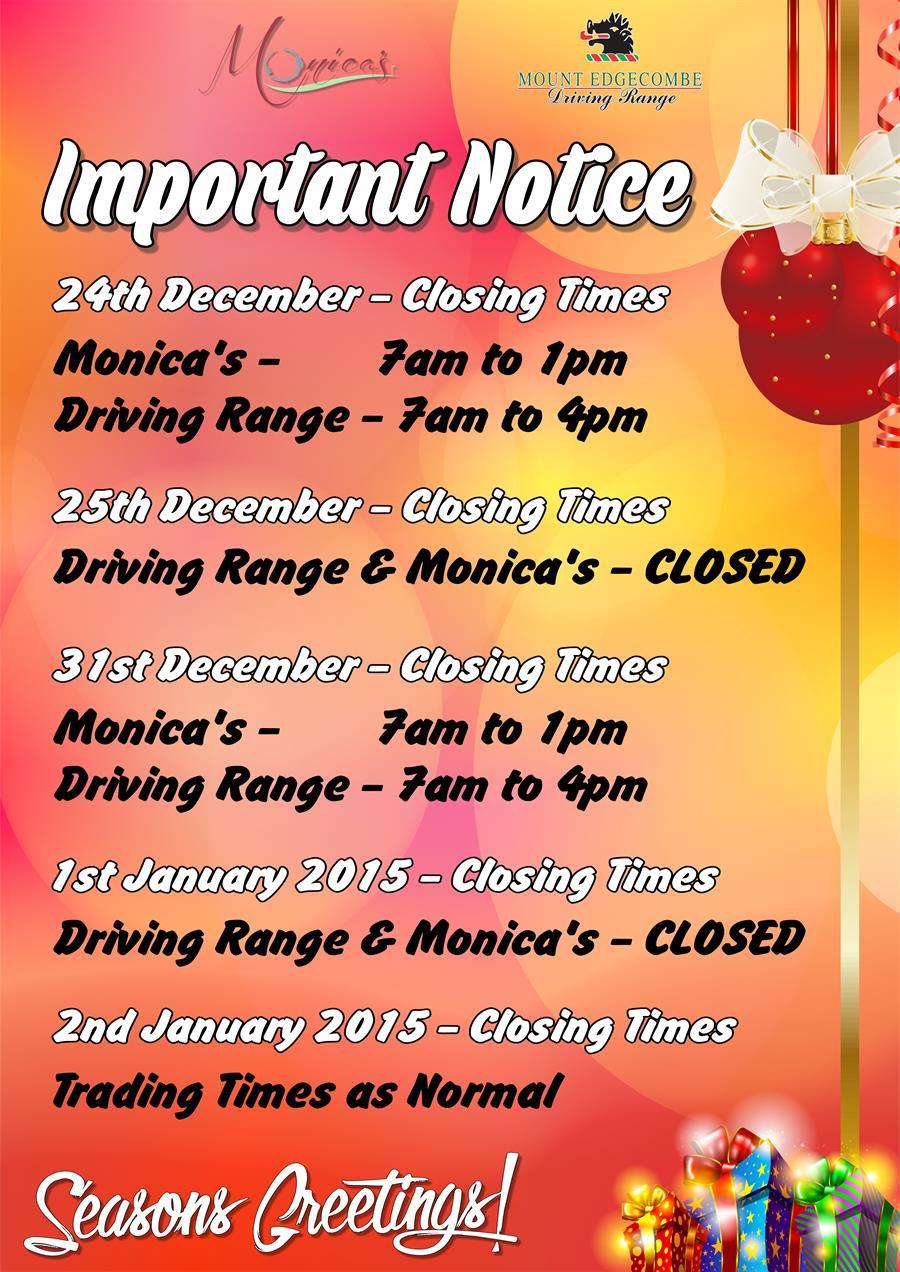 december range opening hours