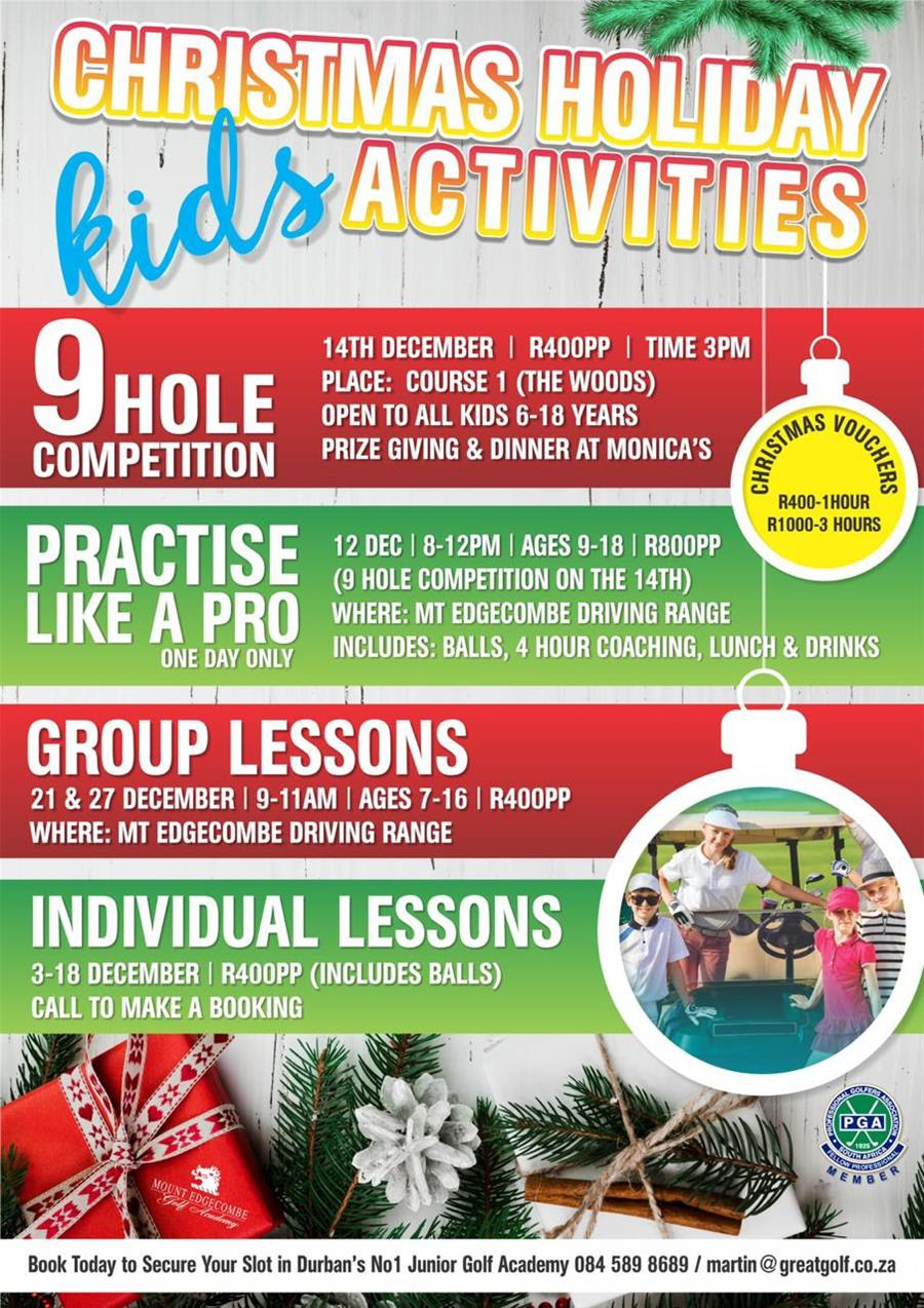 christmas holiday kids golf activities